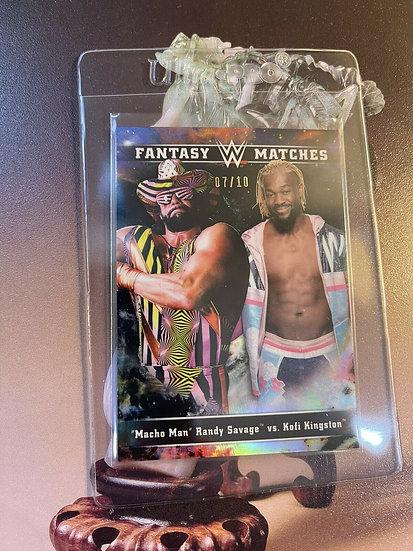 2020 Topps Chrome WWE Macho Man vs Kofi Kingston Fantasy Matches REFRACTOR #d/10
