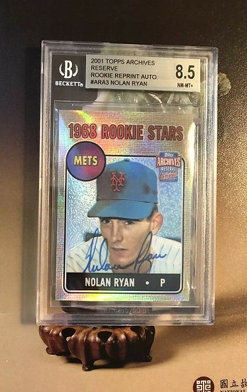 """2001 Topps Archives """"1968 RC"""" Nolan Ryan Autograph BGS 8.5 On Card AUTO NY Mets"""