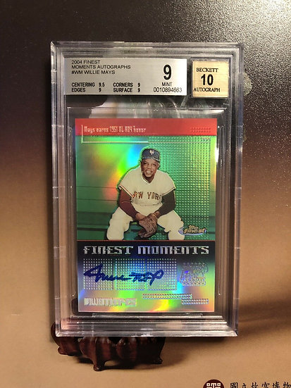 2004 Topps Finest Willie Mays FINEST MOMENTS Refractor Autograph BGS 9 AUTO 10