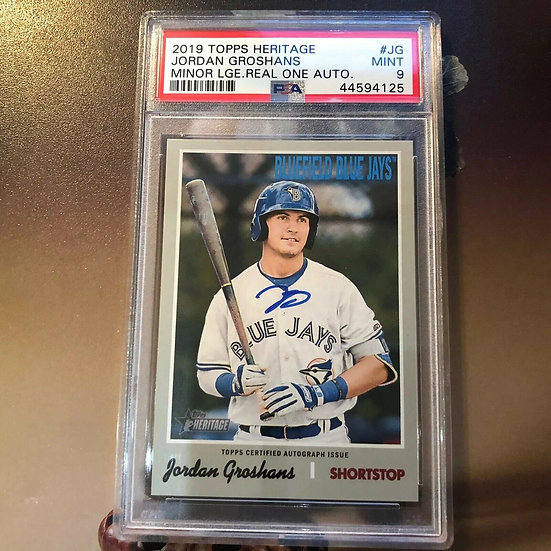 2019 Topps Heritage Minor League Jordan Groshans Real One AUTO PSA 9 BLUE JAYS