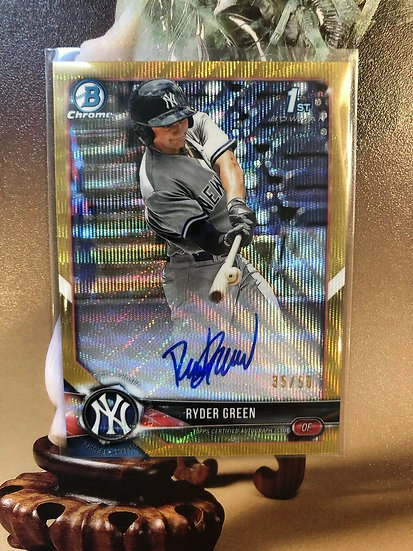 2018 Bowman Chrome Ryder Green AUTO RC Gold Ref #d/50 Autograph ROOKIE Yankees
