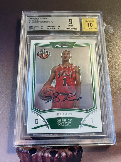 2008/09 Derrick Rose Bowman Chrome Auto ROOKIE RC BGS 9 Mint Chicago Bulls