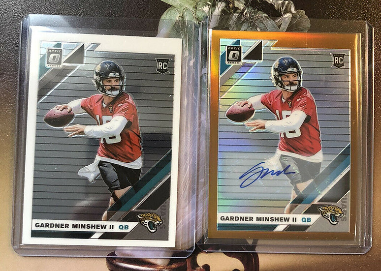 2019 Panini Donruss Optic Bronze #142 Gardner Minshew Auto Rookie + Base RC Jags