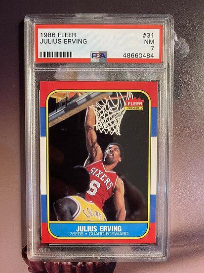1986 Fleer Basketball Julius Erving #31 PSA 7 NRMT