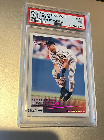 Derek Jeter 2000 Pacific Crown Collection Holographic Purple PSA 7 HOLO #d/199