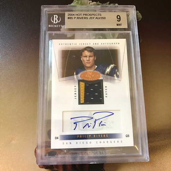 2004 Fleer Hot Prospects Philip Rivers RPA Patch Autograph RC /350 BGS 9 AUTO 10