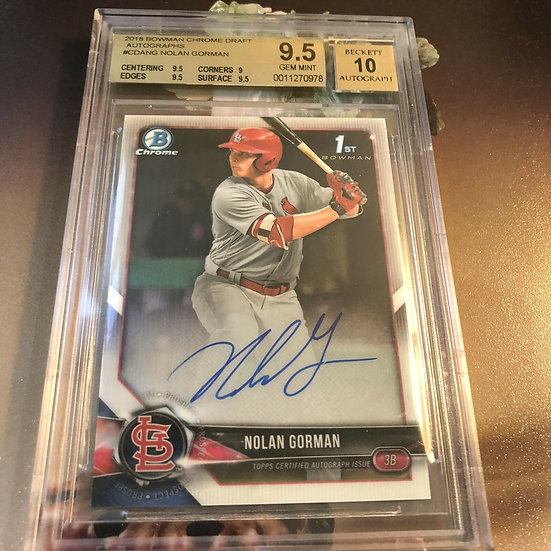 2018 Bowman Chrome Draft Nolan Gorman Autograph RC BGS 9.5 10 Auto Cardinals