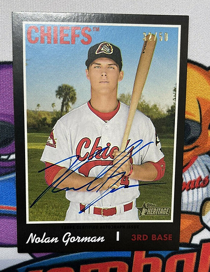 2019 Topps Heritage Nolan Gorman Auto RC #ROA-NG Real One Autograph #d/50 Chiefs