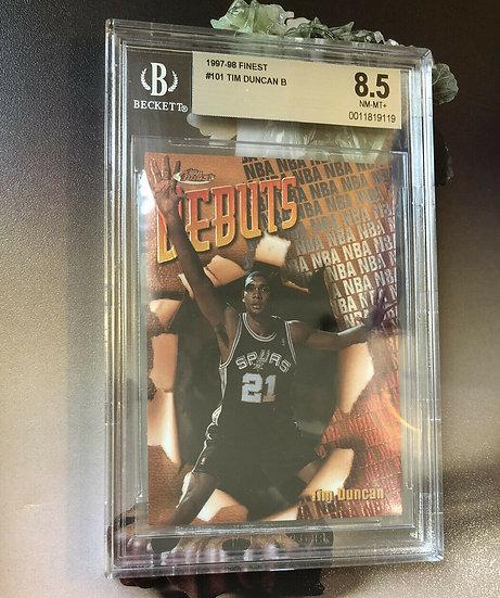 Tim Duncan 1997 98 Topps finest basketball #101 spurs RC rookie BGS 8.5 HOF