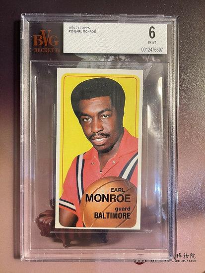 1970 Topps Basketball Earl Monroe #20 BVG 6 EXMT