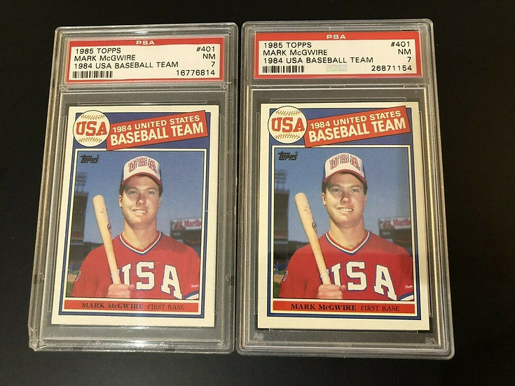 2x Lot: 1985 Topps Mark McGwire 1984 USA Baseball XRC Rookie RC #401 PSA 7 NM