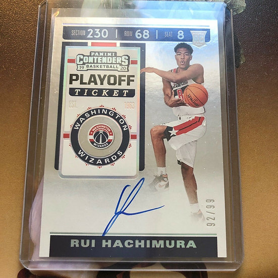 2019-20 Contenders Playoff Ticket Auto RUI HACHIMURA Autograph RC #d/99 Wizards