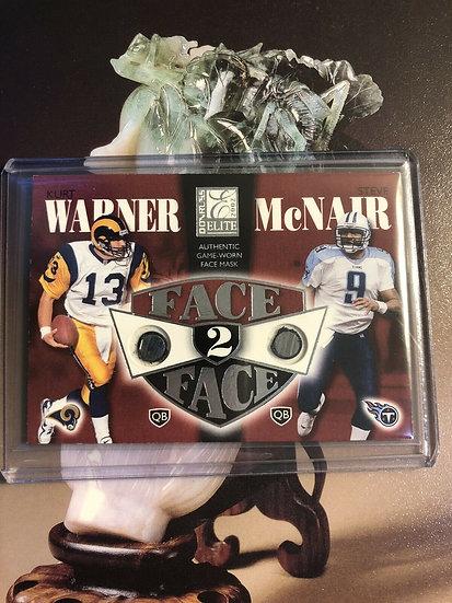 Kurt Warner & Steve McNair 2002 Donruss elite face 2 face dual face mask #d/350