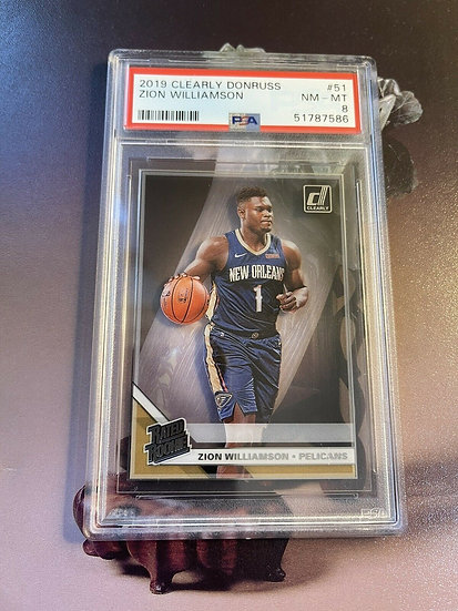 2019 Clearly Donruss Zion Williamson Base #51 PSA 8 Rookie Card RC Pelicans