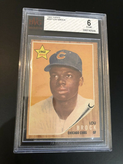 1962 TOPPS LOU BROCK BVG 6 GRADED Rookie Card #387 RC HOFer