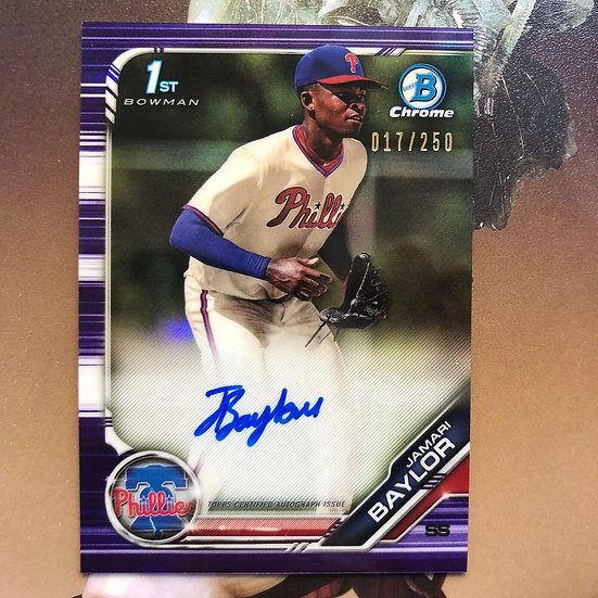 2019 Bowman Chrome Draft Purple Refractor Autograph Auto Jamari Baylor /250 RC