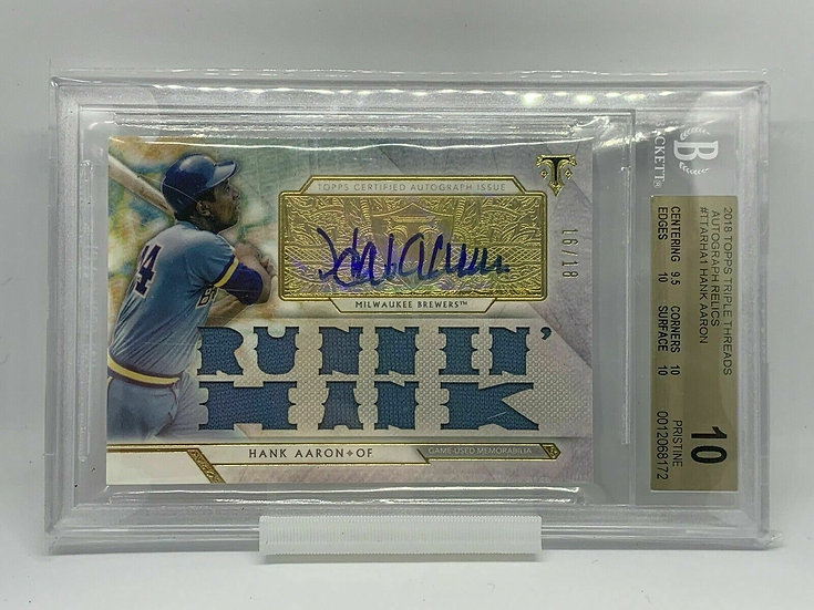 2018 Topps Triple Threads Autographed Relics Hank Aaron BGS 10 AUTO 10 Pristine