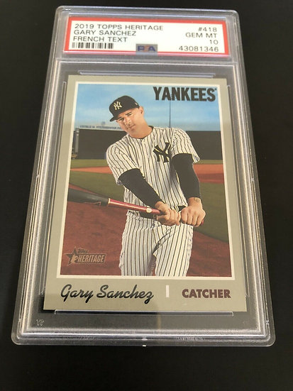 2019 Topps Heritage French Text #418 Gary Sanchez NY Yankees PSA 10 Gem Mint