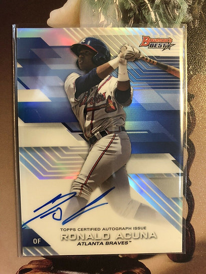 2017 Bowman's Best RONALD ACUNA Ref Refractor RC AUTO - On Card Autograph Braves