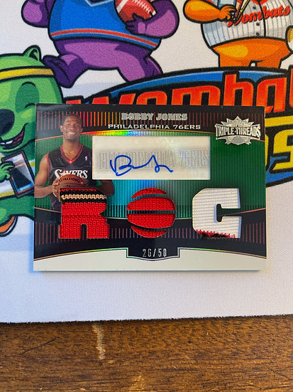 2007 Topps Triple Threads Bobby Jones Jersey 3 Color Patch auto 26/50 Sixers
