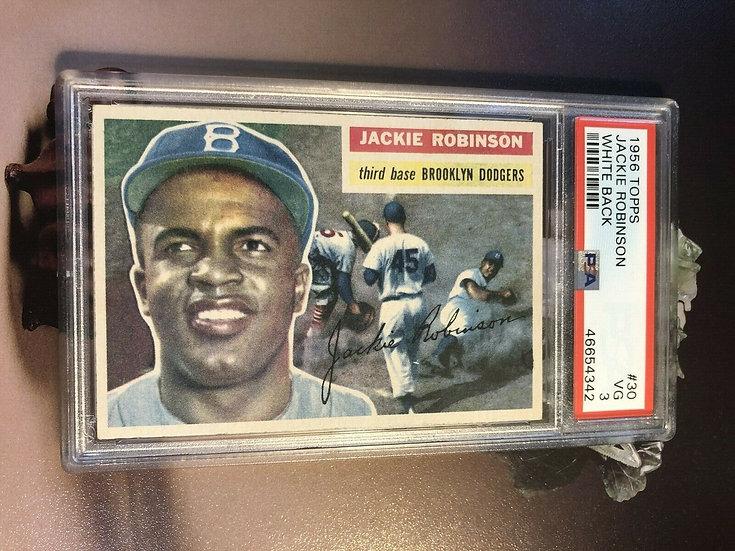 1956 Topps Jackie Robinson #30 White Back, PSA 3 - Iconic HOF Brooklyn Dodgers