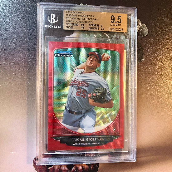 2013 Bowman Chrome Red Wave Ref Lucas Giolito RC Rookie BGS 9.5 w/10 #'d 03/25