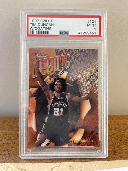 1997-98 Topps Finest #101 Tim Duncan Spurs RC Rookie w/ Coating PSA 9 MINT SPURS