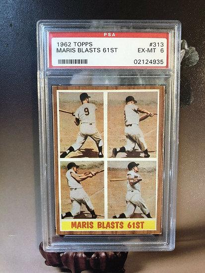 "1962 Topps Roger Maris PSA Graded 6 EX-MT ""Maris Blasts 61st"" Yankees HOF Wow🔥"