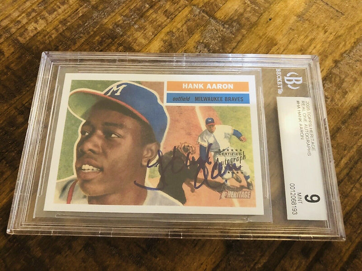 2005 Topps Heritage Henry Hank Aaron Real Ones AUTOGRAPH BGS 9 AUTO 10 Braves
