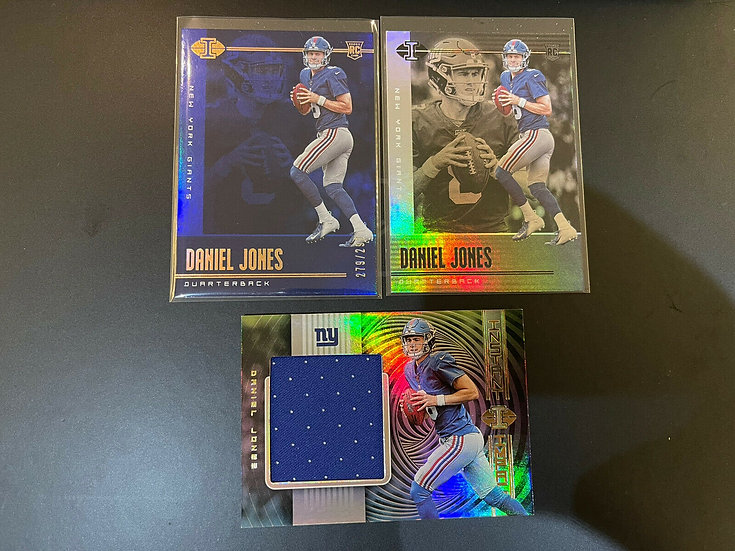3x Lot: 2019 ILLUSIONS Daniel Jones RC Base #2, Blue #d/299, Jersey Rookie Card