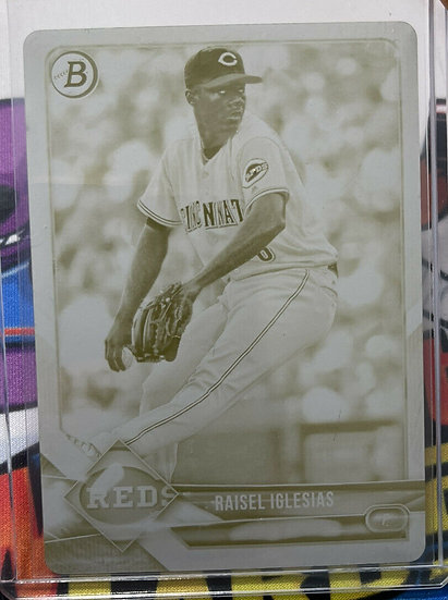 2018 Bowman Raisel Iglesias #96 Yellow Printing Plate #d One of One Reds RC 1/1