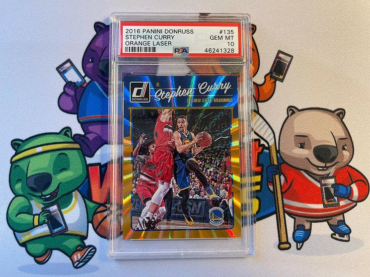 2016 Donruss Basketball Orange Laser Stephen Curry #135 PSA 10 GEM MINT Warriors