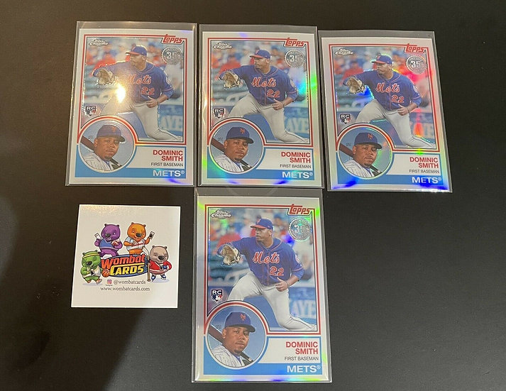 """4x Lot: 2018 Topps Chrome Dominic Smith """"1983"""" Refractor RC Ref Rookie Card Mets"""