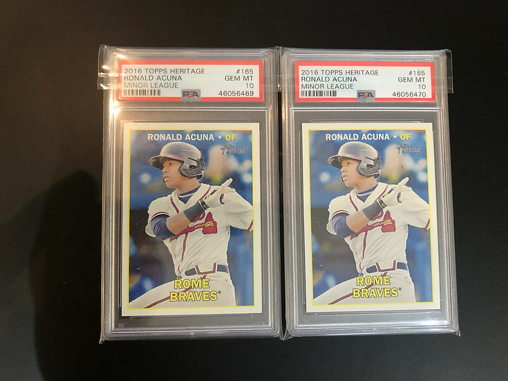 2x 2016 Topps Heritage Minors Ronald Acuna RC Gem Mint PSA 10 !!XRC FIRST CARD!!