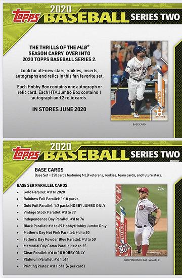 2020 TOPPS SERIES 2 BASEBALL MLB HOBBY 12 BOX CASE 🔥1 AUTO or RELIC per Box 🔥