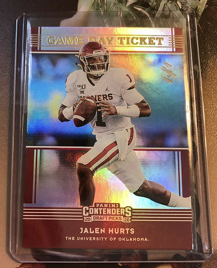 Jalen Hurts 1/1 2020 Panini Contenders Game Day Ticket RC True 1 Of 1 Non Auto