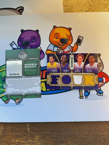 2009-10 SP Game Used Four on 4 Fabrics Kobe Bryant Jersey Lakers #d/65 + Garnett