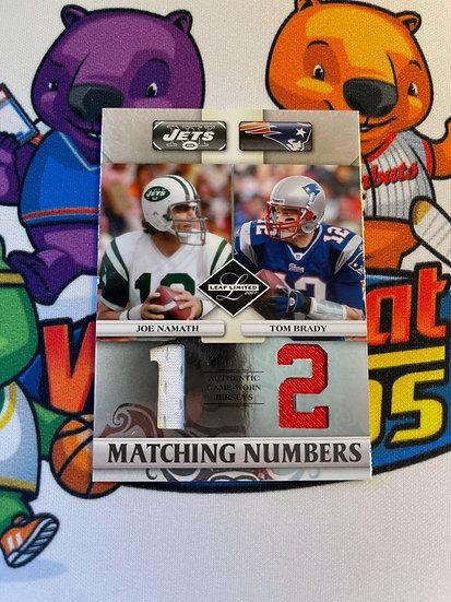 2007 Leaf Limited Matching Numbers Tom Brady Joe Namath Dual Jersey #d/100