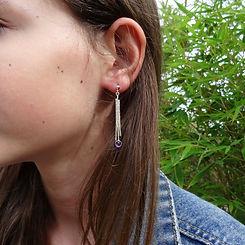 Gemarteld zilveren oorhangers met Ametihist steentjes