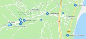 Kaart met restaurants in Fitou