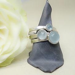 Zilveren handgemaakte ringen met aquamarijn edelstenen