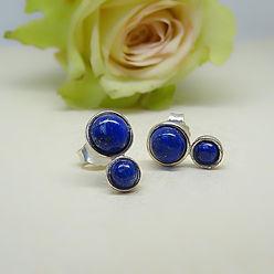 Zilveren oorstekers met lapis lazuli steentjes