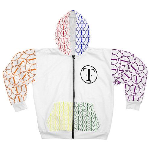 TNTCO Unisex Zip Hoodie (White Multicolor)