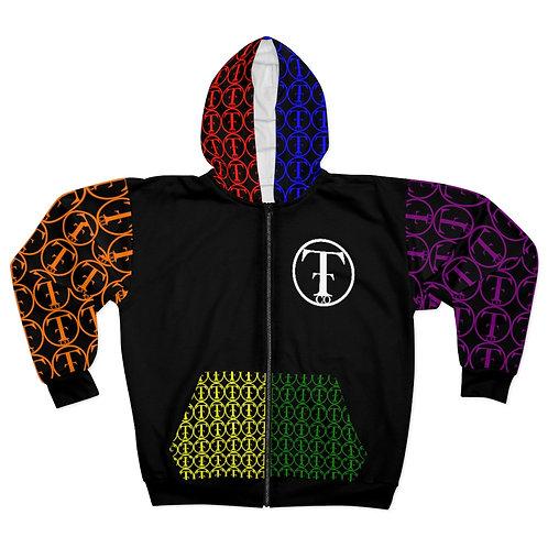 TNTCO Unisex Zip Hoodie (Black Multicolor)