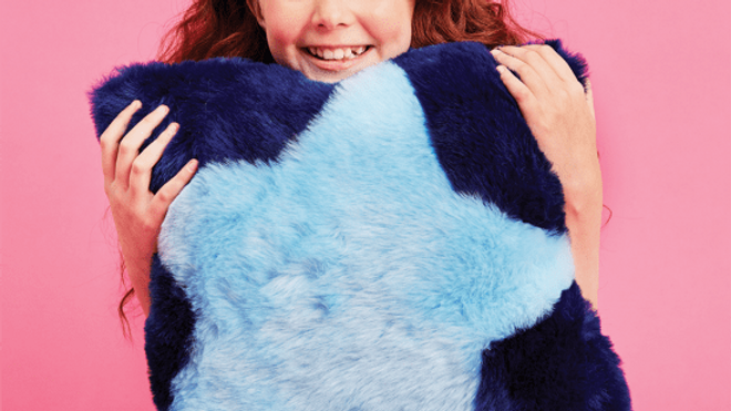 Blue Furry Star Pillow