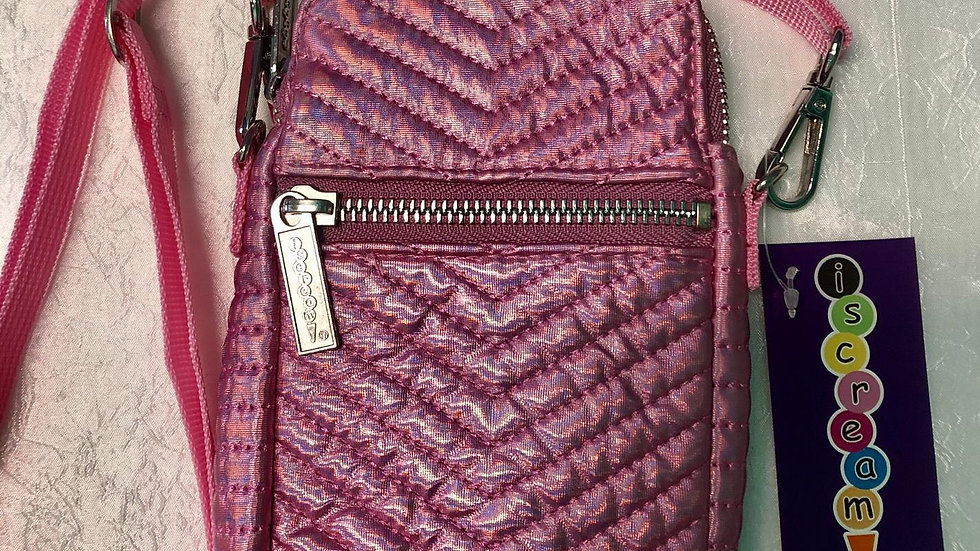 Iscream Pink Chevron Cell Phone Bag