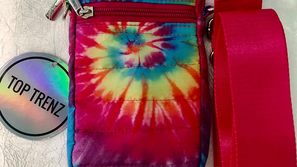 Top Trenz Colorful Tye Dye Red Strapped Cell Phone Bag
