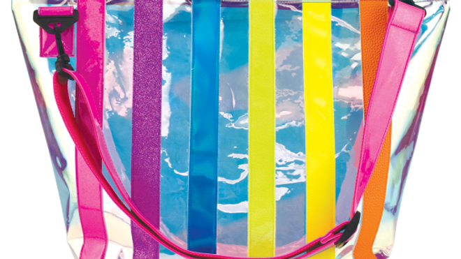 Iridescent Striped Clear Overnight Bag