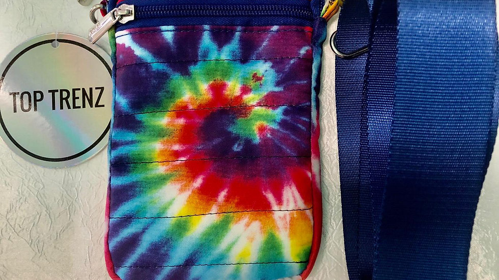 Top Trenz Colorful Tie Dye Blue Strapped Cell Phone Bag