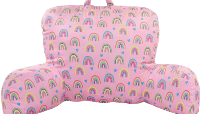 Rainbow And Hearts Lounge Pillow